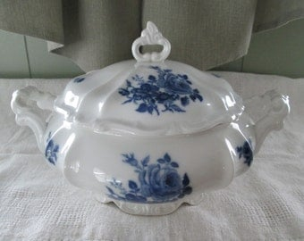 Flow Blue & White Ironstone, Hertel Jacob, Bavaria, Germany, Covered Vegetable Serving Dish,Country,Farmhouse,Farm House