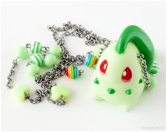 Chicorita Pokemon Necklace, Mint Green, Stainless Steel, Beaded Chain, Gamer Girl, Game Characters, Kawaii