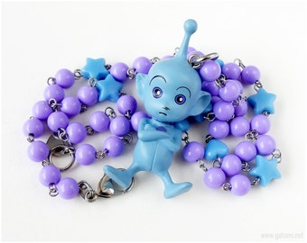 Creamy Mami Necklace, Pino Pino Figure, Purple, Blue, Pastel Goth, Fairy Kei, Decora, Harajuku Fashion, Alien Jewelry