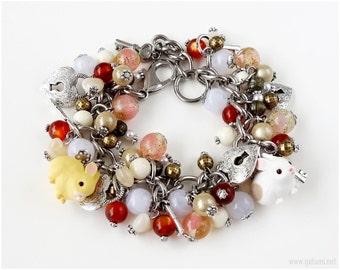 Bunny Charm Bracelet, Silver Chain Bracelet, Cluster Bracelet, Bunny Jewelry, Dolly Kei, Sweet Lolita, Miniature Animals
