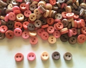 100 pcs  Tiny Button micro button 2 holes size 6mm mix grey and light pink tone