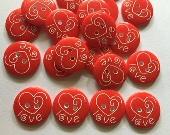 26 pcs  Cute red love heart laser carved buttons size 18 mm