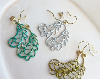 Patina Leaf Earrings, Metal Filigree Earrings, Leaf Earrings, Minimalist Nature Jewelry