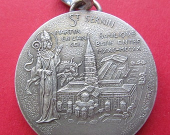 Saint Sernin Silver French Religious Medal Toulouse Paris Mint Vintage Pendant Signed Tschudin  SS187
