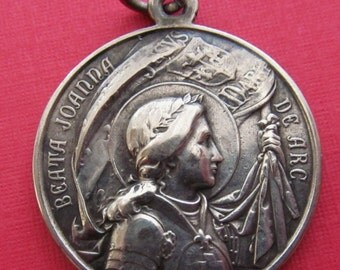 Blessed Joan Of Arc Antique Religious Medal Pope Pius X Catholic Pendant Dated 1909  SS529