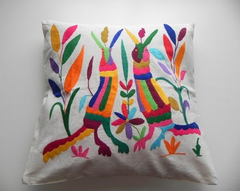 Unique Otomi Embroidered Cushuion  Pillow case Cloth- Mexican Handmade with love - Home Decor