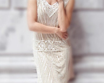 Crystalline 1920s Art Deco  Beaded Vintage Flapper, The Great Gatsby, Downton Abbey,1920s Wedding Gown, Boudoir