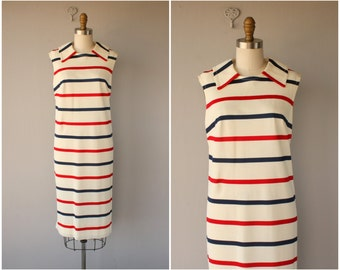 Vintage 60s Dress | 1960s Dress | 60s Day Dress | 1960s Striped Dress | Vintage Nautical Dress