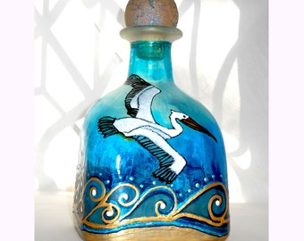 Patron Art Bottle Hand Painted Pelican Coastal Decor