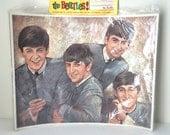 Vintage Beatles Buddies Club Full-Color Oil Portrait Poster Print - Unopened in Original Packaging with Fan Club Membership Card