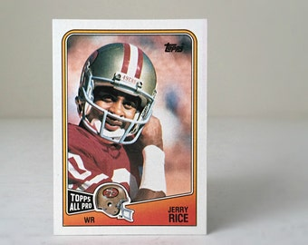 Vintage Jerry Rice Football Card, NFL Gift for Men, Sports Christmas Gift for Dad, '88 Topps Football Trading Card, San Fransisco 49ers Gift