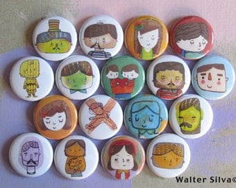 Doodle Pin Badges or Magnets - Assorted Doodle ReFrigerator Magnets - Dorm Decor