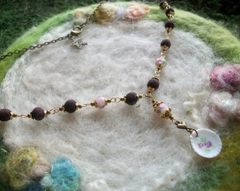 Rose Petal Bead Necklace with Tiny China Plate