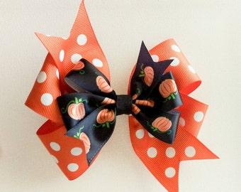 Hair Bow - Layered Halloween Pumpkin Print Pinwheel Hairbow