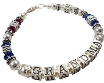 Grandma Bracelet- Mother- Mom - Nana- Mimi - Gammy custom birthstone family bracelet - sapphire pink choose any colors & any letters