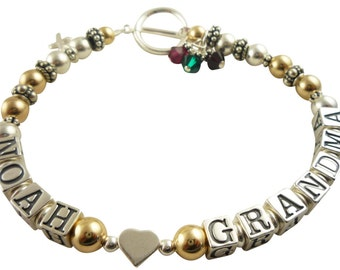 Grandma 14k and silver bracelet. personalized. Child /grandchild name with heart , cross charm and birthstones