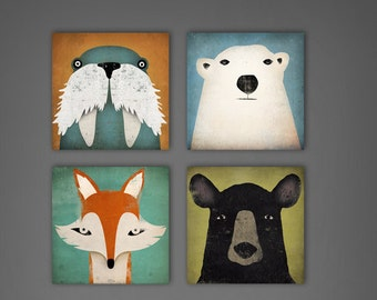 4 Native Vermont  6x6x1.5 Mounted CANVAS Wood Block Baby Nursery wall art signed Fox, Polar Bear, Black Bear, Walrus by Ryan Fowler