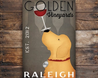 FREE CUSTOMIZATION Golden Retriever Wine Cellars Vineyards Sign Gallery Wrapped Canvas Wall Art - Ready-to-Hang