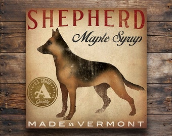 free custom GERMAN SHEPHERD Maple Syrup Graphic art Gallery Wrapped Canvas