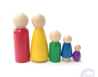 peg dolls - peg people - the rainbow collection: rainbow family peg doll set