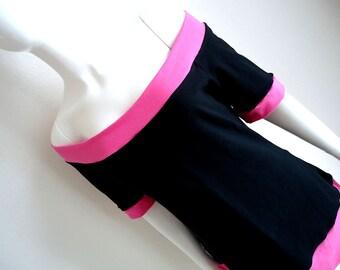 Pink / Black • Cotton Lycra • Off Shoulder • Top • Shirt •  Large / XL • Short Sleeves