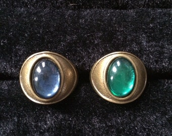 Vintage Emerald and Montana Blue Cabochons Rings