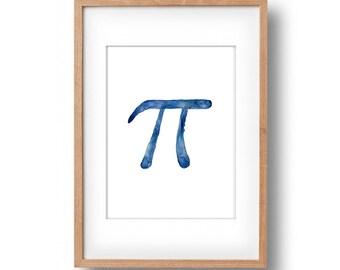 Pi art print, Pi sign print, Pi day, mathematical constant Pi, geek, nerd, Indigo Blue, fathers day, minimalist art, march 14, dorm decor