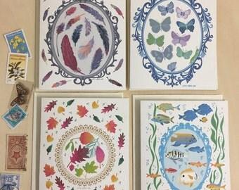 Nature Specimens Pressed in a Fancy Frame Notecards - Set of 2