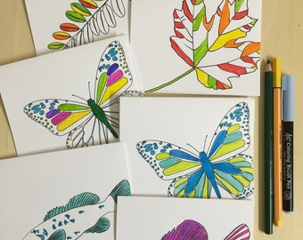 Coloring Book Notecards - Boxed Set of 4