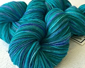Hand Dyed Sock Yarn Bad Arse Mermaid Teal Blue Green Turquoise Hand Painted sockyarn 463 yards hand dyed fingering weight Treasured Toes