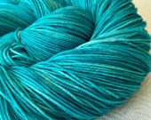 Hand Dyed Sock Yarn Kiss From a Mermaid teal Hand Painted sockyarn 463 yards turquoise hand dyed fingering weight Treasured Toes blue green