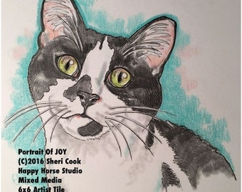 Original Colored Pencil Portrait of JOY the Kitten Painting