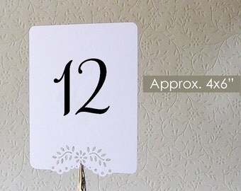 10 Double Sided Table Number Signs / Wedding  Elegant Eyelet Vine Design