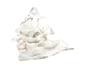 Nuno Felted Scarf Lightweight Scarf Gift for Her Fall Fashion Beige Scarf Spring Scarf Fall Scarf Womens Scarf in Beige Brown White Silk