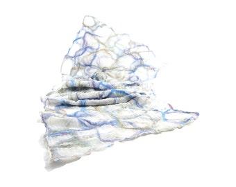 Nuno Felted Scarf Gift for Her Lightweight Scarf Fall Fashion Pastel Scarf Spring Scarf Fall Scarf Womens Scarf Beige Blue on White Silk