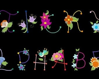 STICKY ALPHABET - 78 Machine Embroidery Font Designs Instant Download 4x4 5x7 6x10 hoop (AzEB)
