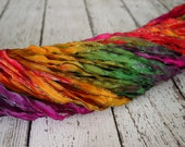 NEW Hand Dyed ribbon FANTASY LAND, dark shimmer edge, 5 yards