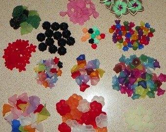 Lucite Flower & Leaves Bead Mix - Over 180 Beads Lot