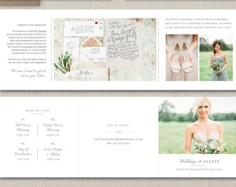 Wedding Planner Marketing Trifold Template - Event Coordinator Templates - Printable Branding Templates - Design By Bittersweet