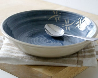 Dragonfly shallow bowl - simply clay and blue swirled dish