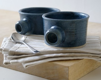 Set of two wide stoneware soup mugs - glazed in smokey blue