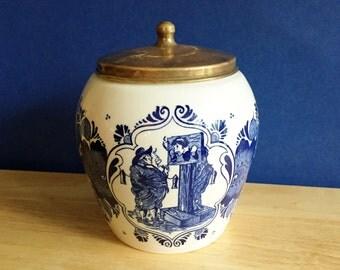 Vintage Dutch Delfts van Rossen's Tobacco Jar - Humorous Theme - Man in Stockade