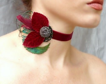 Victorian Red Velvet Choker - Vintage Jewel Feather Collar - Baroque, Burlesque, Romantic, Prom, Wedding GoT