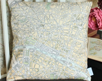 Paris Vintage Map Cushion or Pillow