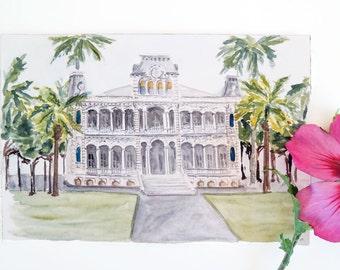 Iolani Palace, Honolulu, Hawaii Original Watercolor