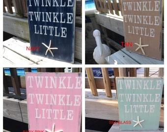 Beach Sign Nautical Nursery Decor Twinkle Twinkle Little Starfish Coastal Baby