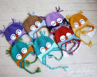 Baby Owl Crochet Hat - Custom - Choose Your Own Colors and Size