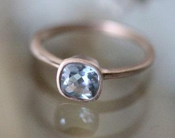 Genuine Aquamarine 14K Rose Gold Ring, Gemstone Ring, Cushion Cut Aquamarine Ring, Eco Friendly, Engagement Ring, Stacking - Made To Order