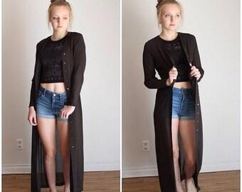 Summer Sale 90s Duster, Sheer Black, Black Long Duster, Duster Coat, Floor Length, SILK Duster, Black Sheer Dress, Button Down Dress Bias Cu