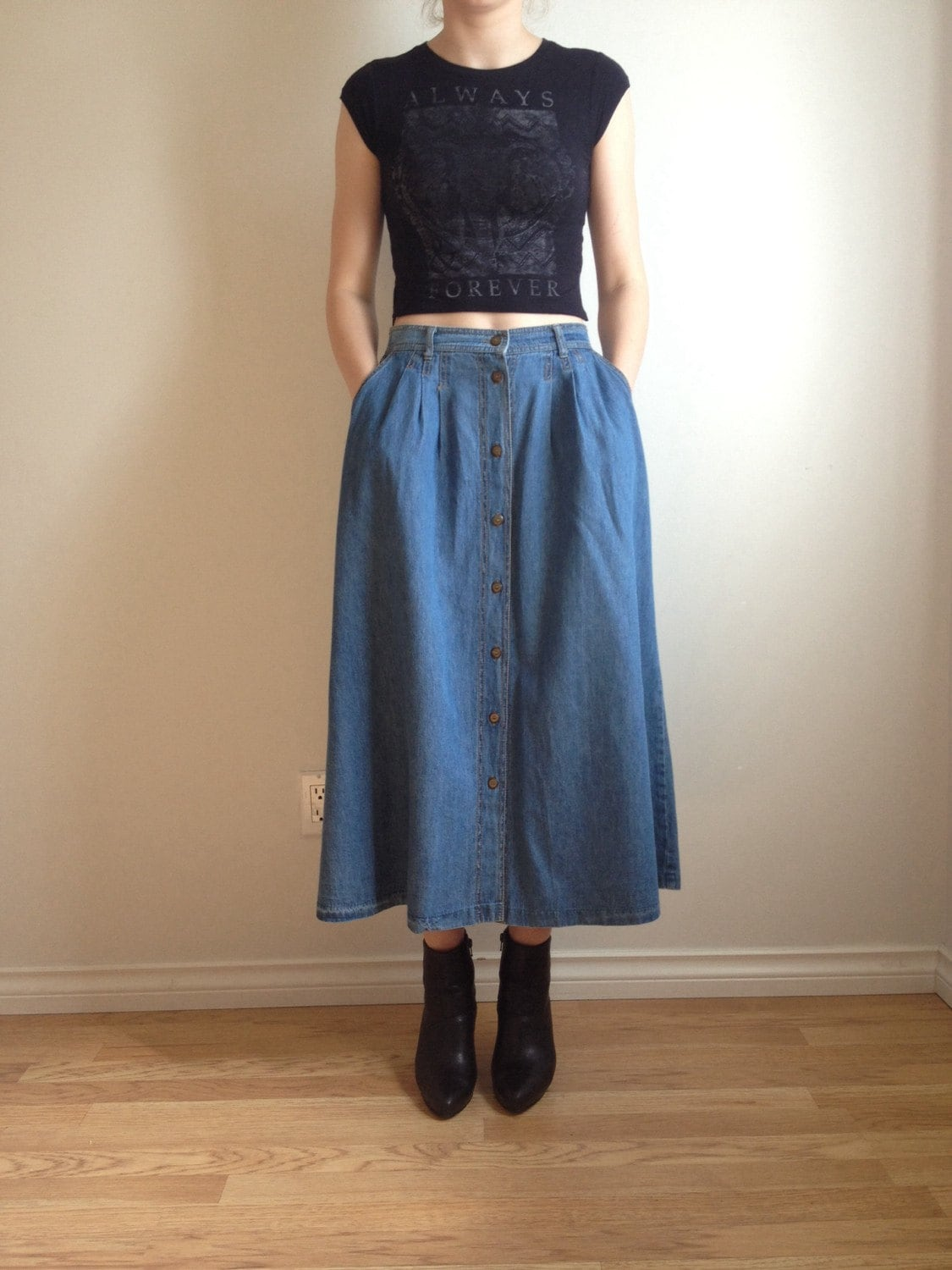 90s Jean Midi Skirt Button Down Jean Skirt Skirt With